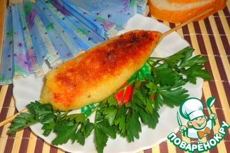 Рецепт: Картофельный шашлык с рыбой в томате