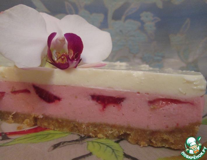 Рецепт: Творожно-клубничный торт без выпечки