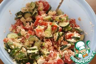 Рецепт: Салат из огурцов, помидоров и домашнего сыра