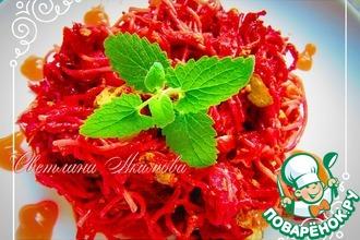 Рецепт: Спагетти со свеклой и печенью