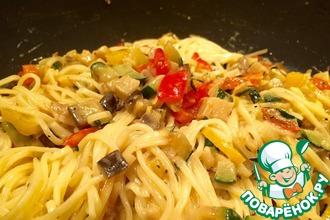 Рецепт: Спагетти с овощами в кокосовом молоке