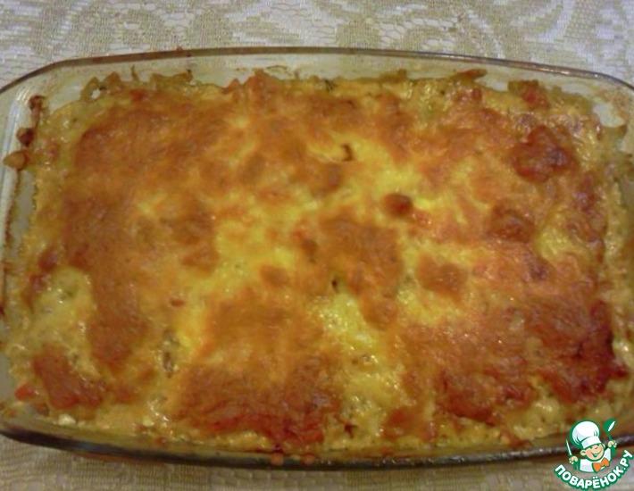 Рецепт: Куриная печень с овощами и сыром