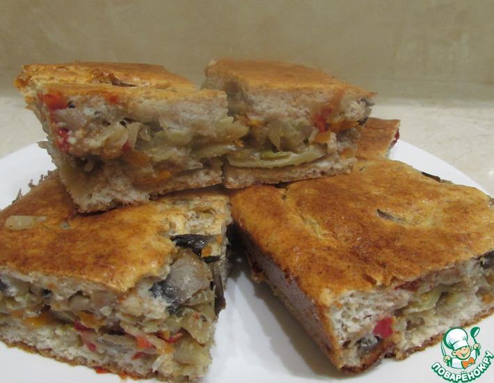 Рецепт: Диетический пирог с капустой и грибами
