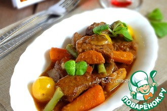 Рецепт: Говядина с шампиньонами и овощами Бёф бургиньон
