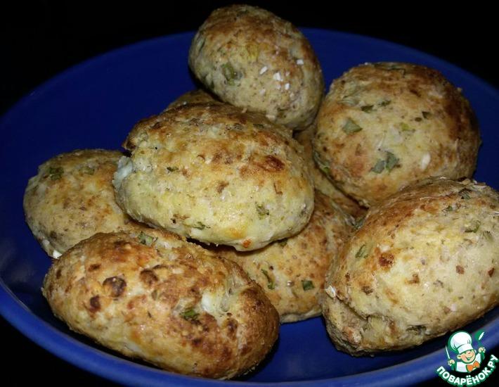 Рецепт: Творожные булочки с зеленым луком