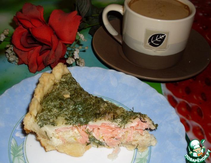 Рецепт: Киш с лососем и моцареллой