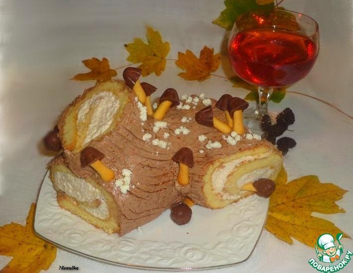 Рецепт: Рождественское полено с творожно-масляным кремом