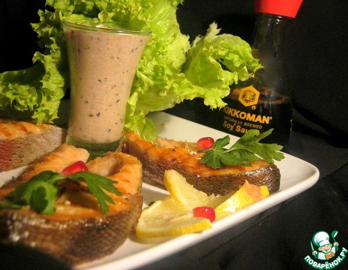 Рецепт: Стейки лосося с соусом Нежный