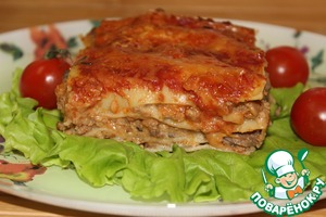 Lasagna with meat and mushroom sauce
