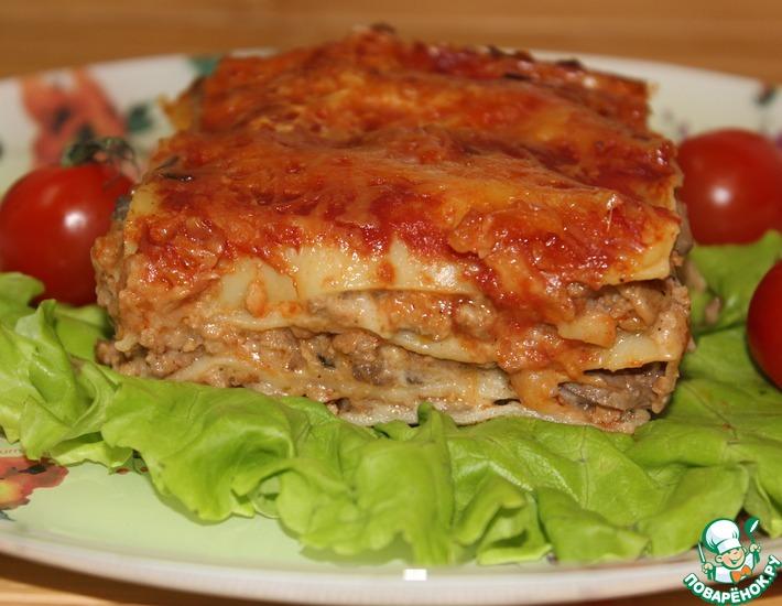 Рецепт: Лазанья с мясом и грибным соусом