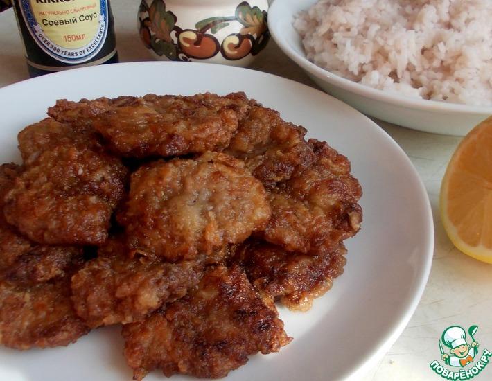 Рецепт: Отбивные из куриных сердечек в маринаде