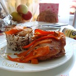 Курица в соевом соусе с яблоком и морковью