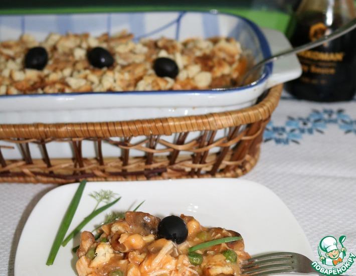Рецепт: Крамбл из шампиньонов и курицы с овощами
