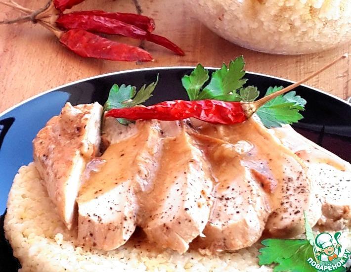 Рецепт: Тушеное куриное филе