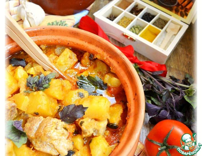 Рецепт: Рагу в горшочке в сливочно-томатном соусе