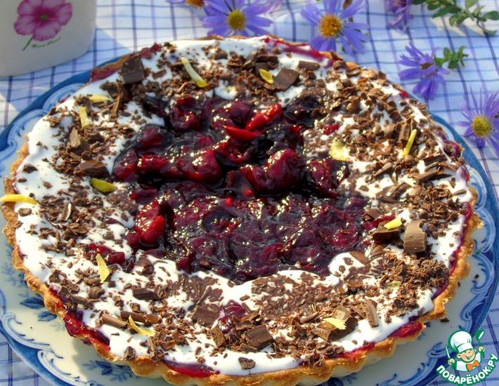 Рецепт: Сметанный тарт с вишневой начинкой