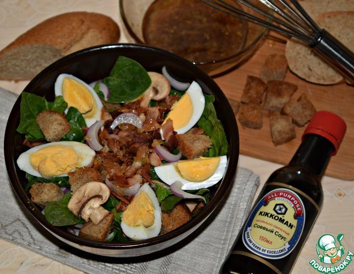 Рецепт: Салат из шпината с беконом