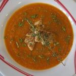Суп из печеных овощей с жареной рыбой