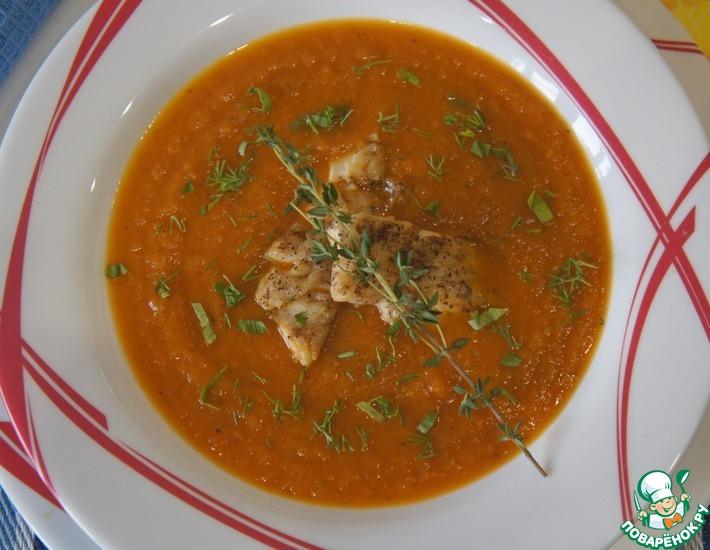 Рецепт: Суп из печеных овощей с жареной рыбой