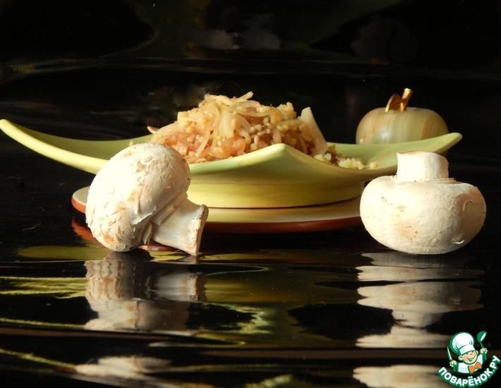 Рецепт: Пшенная каша с шампиньонами и сыром