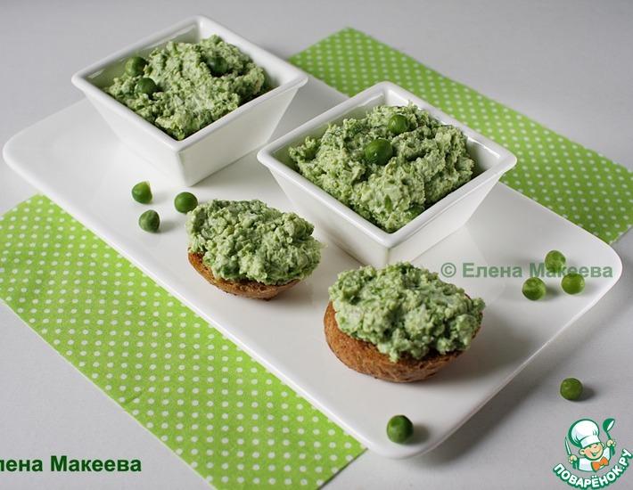 Рецепт: Нежный паштет из зелёного горошка