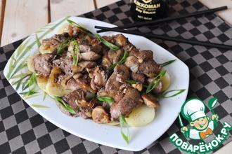 Рецепт: Тёплый салат из печени в китайском стиле