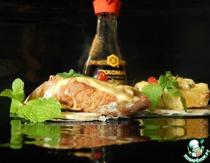 Рецепт: Горячие бутерброды с шампиньонами в соевом соусе