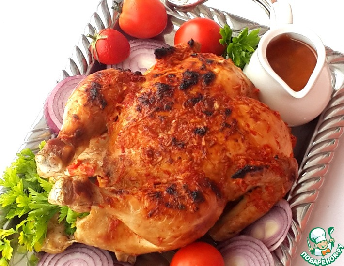 Рецепт: Курица варено-запеченная