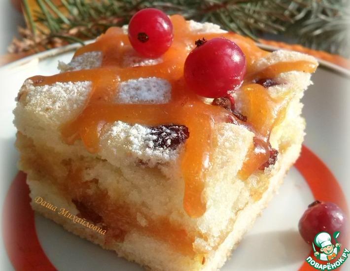 Рецепт: Пирожное Клюква в квадрате