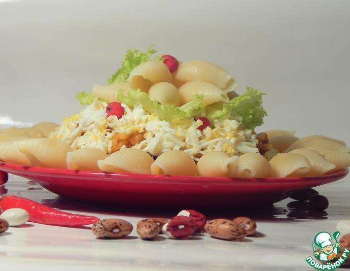 Рецепт: Каша из риса с шампиньонами и фасолью