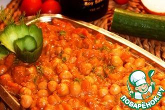 Рецепт: Нут в кисло-сладком соусе и тахини