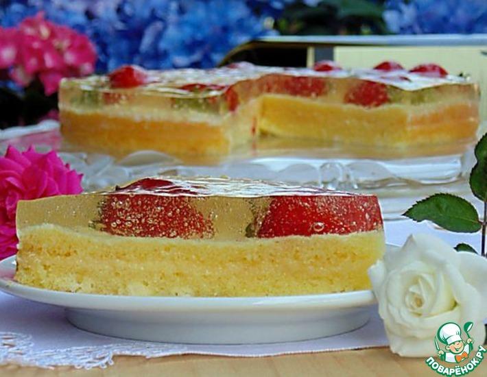 """Торт с лимонным курдом """"Клубника в шампанском"""""""