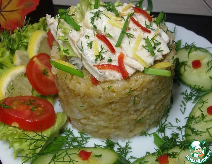 Рецепт: Отварная скумбрия с рисом