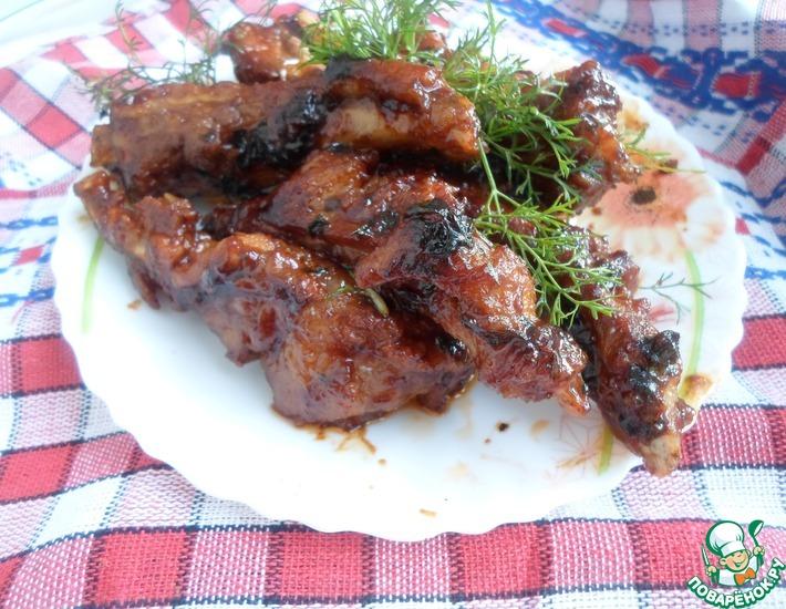 Рецепт: Свиные ребрышки в соево-медовом соусе