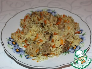 Pilaf with steamed rice in a slow cooker