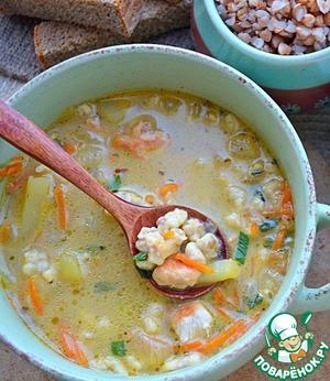 Суп с гречневыми клецками-кнопками