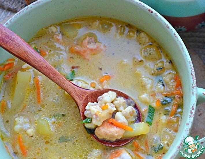 Рецепт: Суп с гречневыми клецками-кнопками