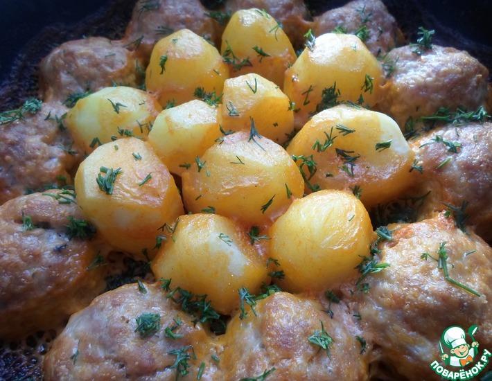 Рецепт: Запеченные котлеты с картофелем