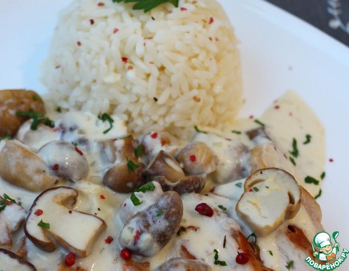 Рецепт: Куриное филе с соусом из белых грибов