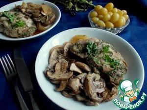 Рецепт Свинина с шампиньонами в винно-соевом маринаде