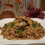 Гречка с грибами и баклажанами в сметанном соусе