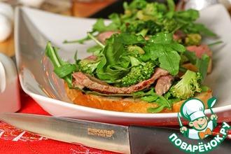 Рецепт: Брускетта со стейком и салатом