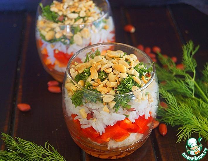 Рецепт: Салат с рисом и арахисом