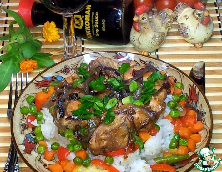Рецепт: Карамелизированные курица и красный лук