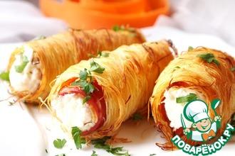 Рецепт: Трубочки с беконом и творожным сыром