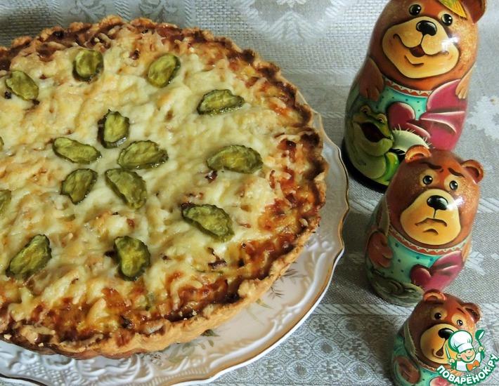 Рецепт: Открытый пирог Деревенский с рыбой