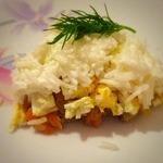 Слоеный салат из консервированной сайры