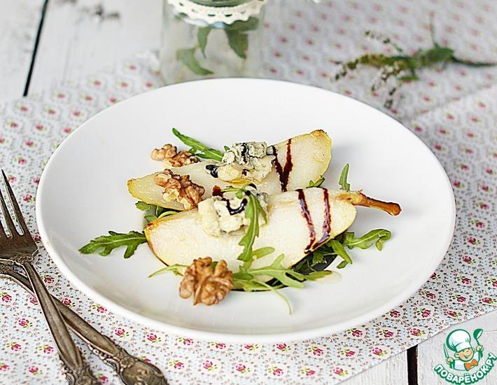 Рецепт: Жареная груша с голубым сыром и пряностями