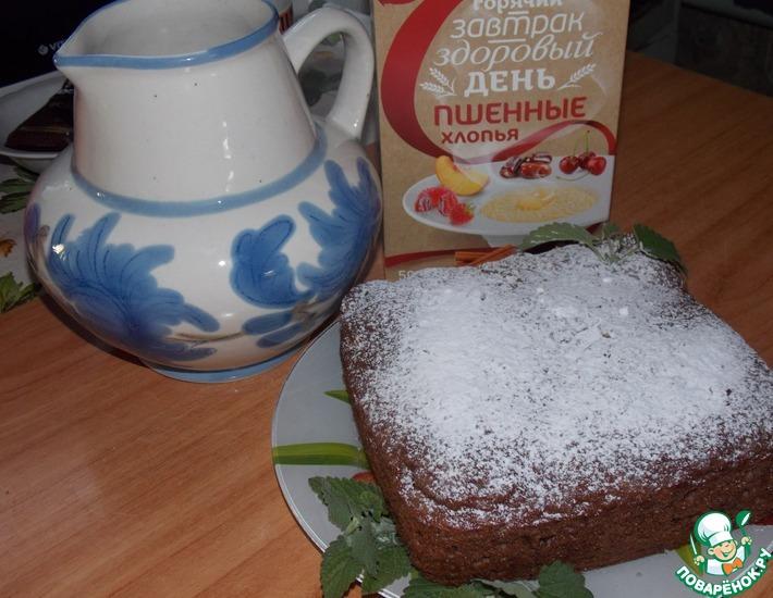 Рецепт: Шоколадный пирог с яблоками и пшёнными хлопьями