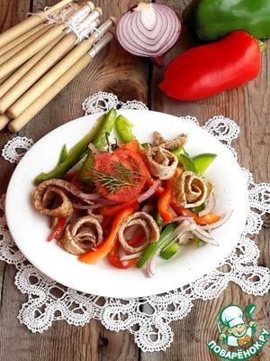 Рецепт Салат со сладким перцем и гречневым омлетом